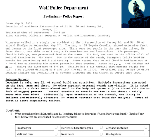 Wolfe Police Department Online Activity Made with TeacherMade